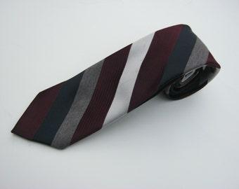 1980s CRAVATTE LAVATELLI Regimental Repp Striped Necktie / Slim Tie / Trad / Ivy