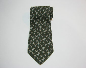 "Brooks Basics ""Flying Mallard Ducks"" Tie / Pure Silk Necktie / Made in USA"