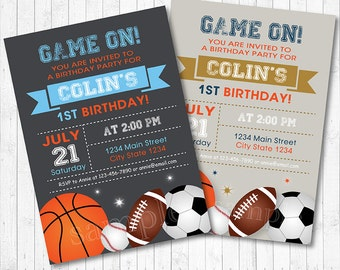 All Star Birthday Invitation, Sports Invitation, Football Invitation, Basket Invitation, Chalkboard, printable