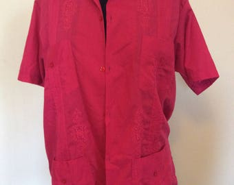 Vintage Red/hot pink Guayabera Shirt - Med
