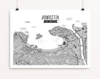 Donostia-San Sebastian Aerial View Print Black and White (DIGITAL)
