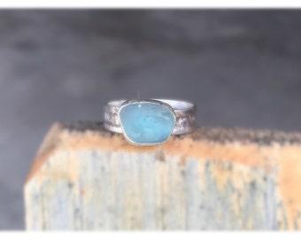 Genuine glacier sea glass ring, light blue seaglass ring, band ring, blue seaglass ring, Genuine English seaglass band ring