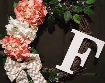 Floral monogram wreath with bow