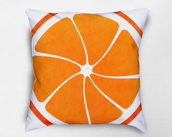 Orange Fruit Pillow, Orange Pillow, Fruit Pillow, Summer Decor, Fruit Decor, Spring Pillows, Spring Decor, Dorm Pillows, Food Pillow