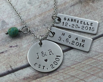 Stainless Steel Personalized Family Necklace, Hand Stamped Couples InitialsName Bar, Children Name Birthday Necklace, Mommy Necklace, Mom