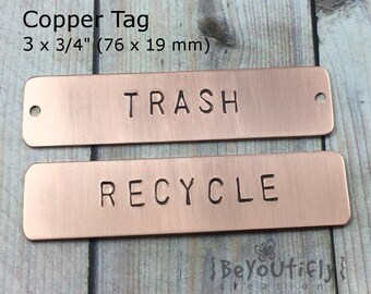 Hand Stamped Large Copper Tag, Personalized Metal Tag, Custom Message Metal Tag, Name Plate Metal Tag, Picture Frame Metal Label, Metal Tag