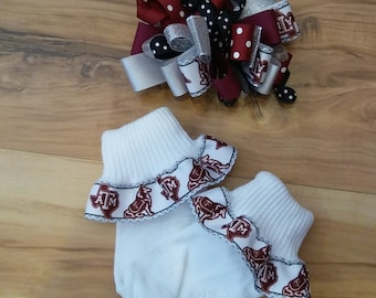 Texas A&M Ribbon Socks and Matching Hair Bow