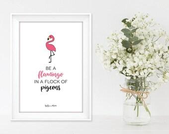 A4 Tropical Wall Art Print | Flamingo