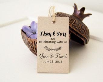 Wedding Favor Bag Tags, Thank You Wedding Tags | Bridal Shower Favor Tags, Custom Printed Wedding Tags