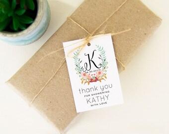 Thank You for Showering Favor Tags, Bridal Shower Favor Tags, Thank You Monogram Tags Custom Monogram Bridal Tags, 24 pcs