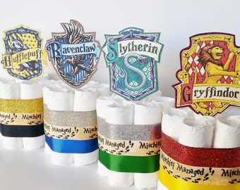 Harry Potter Baby Shower Diaper Cake Centerpieces,  Harry Potter Diaper Cakes, Welcome Muggle Shower Decor, Wizard Gryffindor Party Decor