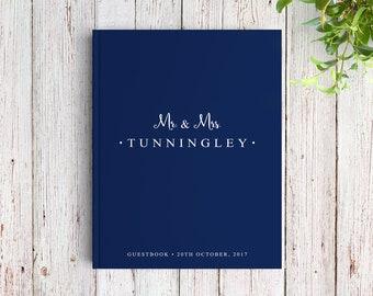 Navy Wedding Guest Book, Navy Guest Book, Navy Blue Guest Book Wedding, Navy and White, Simple Wedding Guest Book, SKU: GB 008