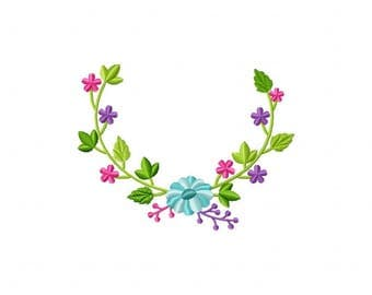 Springtime Wreath Teal Flower Machine Embroidery Design