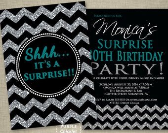 Teal Surprise 30th Birthday Invitation Black Party Invite Chevron invite Black Silver Glitter Sparkle Effect 2 Sided Printable Invite JPEG