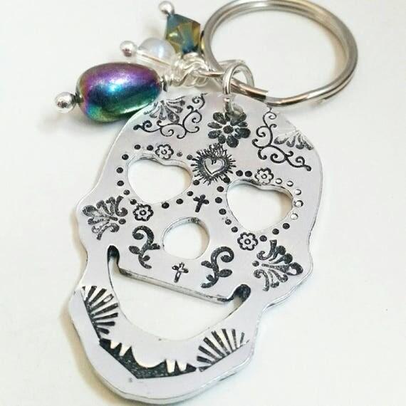 Sugar skull Keyring, Hand stamped custom keychain,
