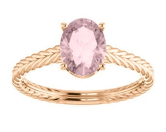 Pink Morganite Solitaire 14K Gold Braided Band Engagement Ring, Oval Gemstone, Morganite Engagement