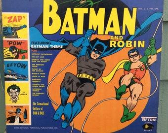 Batman and Robin LP,Batman & Robin album,Batman theme album,DC comics,DC Comics collectibles,man cave decor,Batman collectible,campy albums