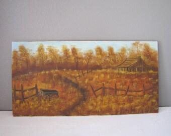 Vintage Painting/Barn Scene/Canvas Painting/Acrylic Art