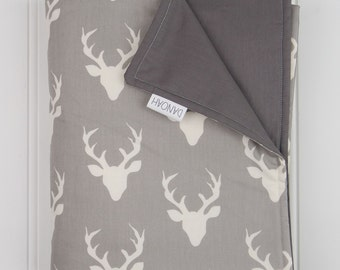 Grey & White Deer Cot Quilt