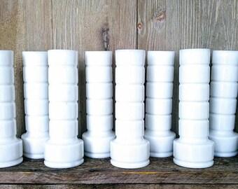 Vintage Milk Glass Vases, Set of 10 Bud Vases, Identical White Flower Vases