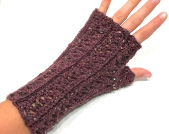 Plum Tweed Crochet Fingerless Gloves