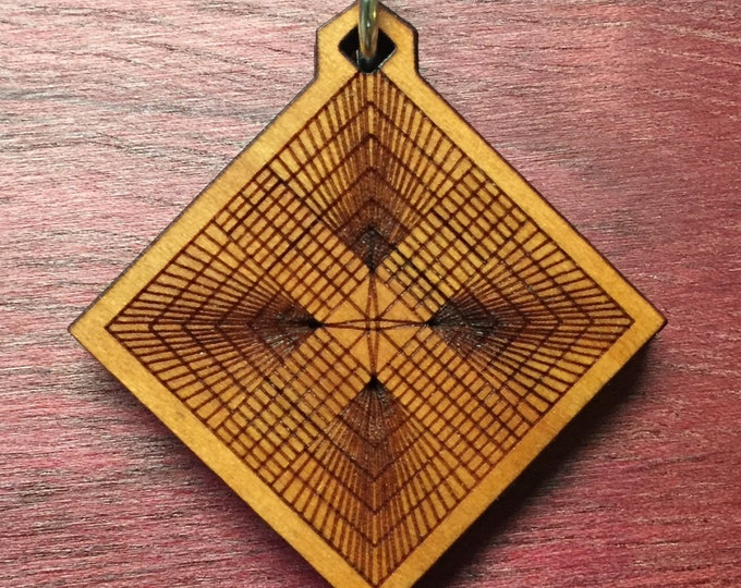 Ley Lines Cherry Wood Laser Engraved Pendant