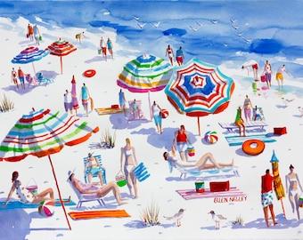 Beach Painting, Beach Art, Watercolor Print, Florida, Umbrellas, Ellen Negley, Tropical Painting, Beach Print, 11 x 14, 16 x 20 or 20 x 24