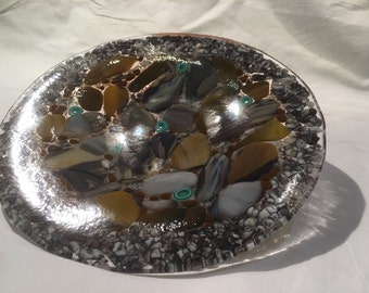 Fused glass, rock plate
