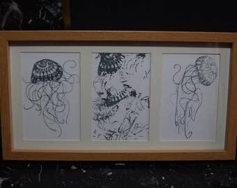 Jellyfish Entanglement, framed print, framed digital print in oak finish, standing or wall mounted