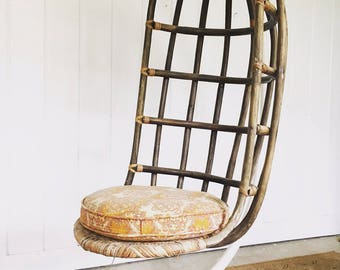 Mid Century Woven Hanging Nest Chair With Original Metal Base