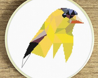 PDF counted cross stitch pattern Goldfinch, Geometric pattern, Cross stitch PDF, American goldfinch art
