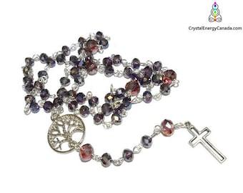 sparkley purple rosary, iridescent rosary, 5 decade rosary, Catholic rosary, tree of life rosary, religious gift, bling rosary, Christian