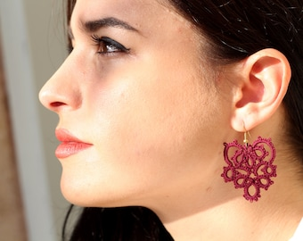 Burgundy tatted lace earrings/ burgundy earrings/ lace earrings/ lightweight earrings/ lace jewelry