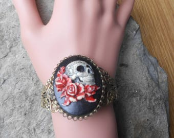 Grateful dead skull etsy skull and roses hand painted cameo bronze filigree bracelet great quality biker prinsesfo Gallery