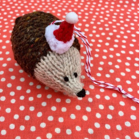 Christmas Hedgehog Knitting Pattern : Tweedy Hedgehog hand knitted Christmas Decoration