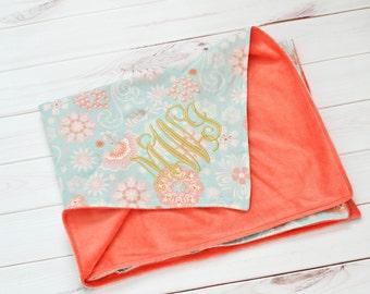 Blanket - Baby Blanket - Baby Girl Blanket -  Personalized Baby Blanket - Monogrammed Blanket  - Minky Baby Blanket - Embroidered Blanket