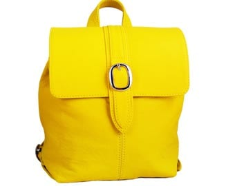 Handcrafted Small Yellow Leather Backpack
