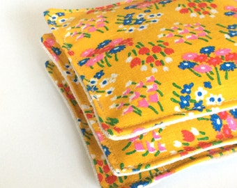 Lavender sachets, set of three, vintage yellow floral print with linen backing, satchet, gift under 15, lavendar sachet