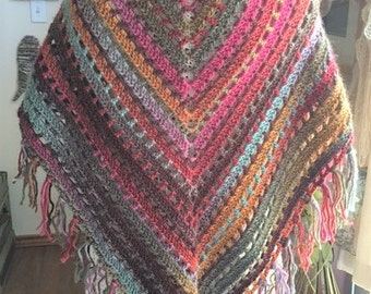 Made to Order: Prayer Shawl, Desert Spring, Crochet Shawl, Crochet Wrap, Triangle Shawl, Healing Wrap, Shawl with Fringe, Gift for her,
