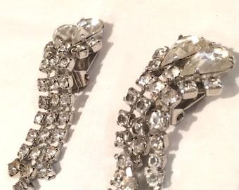 Vintage Faux Diamond Rhinestone Teardrop Heart Clip On Earrings 1950's Jewelry