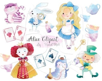 Cute Alice in Wonderland clipart : Instant Download PNG file - 300 dpi
