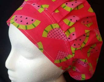 Super Sweet Watermelon Pinky Green Bouffant Surgical Scrub Hat