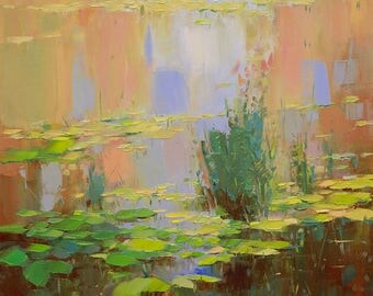 Waterlilies, Original oil Painting, Handmade painting by palette knife, One of a kind