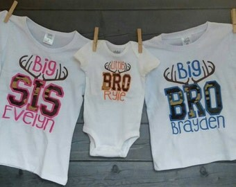 Personalized Big Little Bro Big Little Sis with Deer Antlers and Camo Applique Shirt or Onesie Girl or Boy