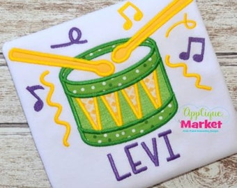 Personalized Mardi Gras Drum Music Parade Applique Shirt or Onesie Girl or Boy