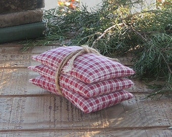 Red Plaid Lavender or Balsam Sachets Set of 3, Organic Lavender, Lavender Pillows, Natural Aroma Therapy