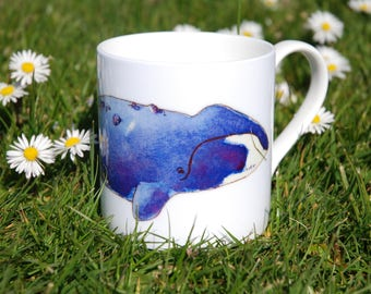 Beautiful handpainted watercolour china mug with bowhead whale design