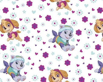 Paw Patrol Fabric Pup Power White From David Textiles 100% Cotton