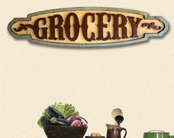 Grocery Sign Large Grocery Sign Wooden Grocery Sign Kitchen Sign Dining Room Sign Vintage Look Shabby Cottage Farmhouse Sign Kitchen Decor