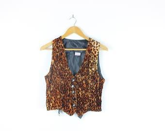 Velvet Leopard Print 90s Vintage Waistcoat Animal Print Button Up Vest Grunge Rocker Size Small